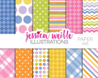 Easter Egg Painting Cute Digital Papers Backgrounds for Invitations, Card Design, Scrapbooking, and Web Design