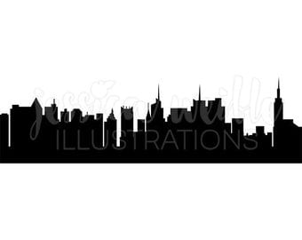 New York Skyline Silhouette Digital Clipart, New York Clip art, New York City Graphics, City Skyline Silhouette Illustration, #067