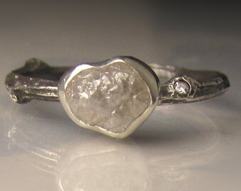 Rough Diamond Ring, Raw Diamond Twig Ring, Raw Diamond Ring, Rough Diamond Engagement Ring