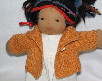Doll Sweater for 13 inch Doll in Orange Heather Wool RTG