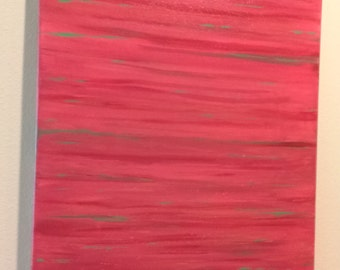 Original Abstract Acrylic Painting Reds and Greens Modern Art Christmas Art Dorm Art