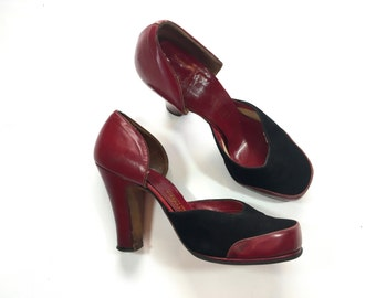 40s Red Leather Pumps | Platform Shoes | High Heel Shoes, US 6, EU 36