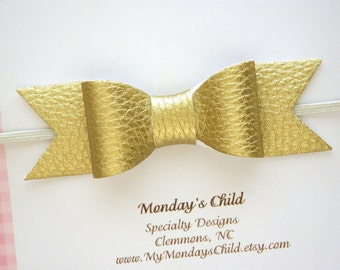 Faux Leather Bow Headband, Gold Baby Bow Headband, Gold Baby Headband, Gold Bow, Leather Bow, Baby Bows, Baby Headband, Toddler Bow