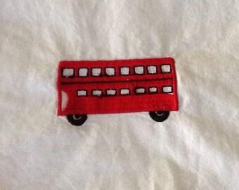 Vintage Cotton British Hand Towel Double Decker Bus Red England English