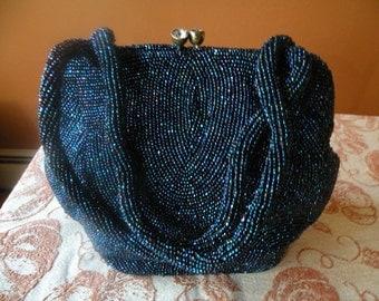Vintage Cobalt-Blue-iris Beaded Evening Bag by Jorelle