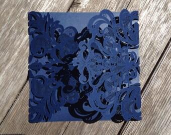Laser Cut FOLDER  Sample ONLY -  VICTORIA Style Elegant Laser Cut Folder in Shimmering Cream, Pewter, Gold or Navy