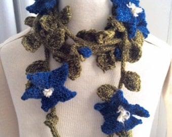 Hand Knit Clematis Garland Scarf