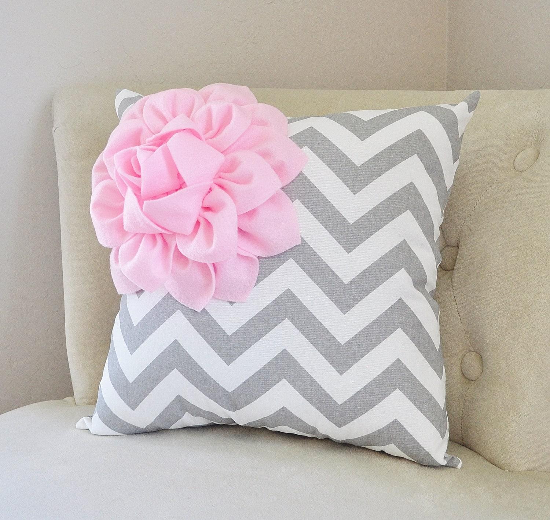 Pale Pink Throw Pillows. Baby Pink Nursery Pillow. Chevron