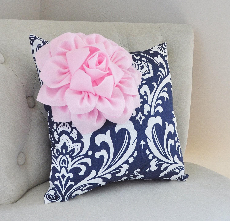 navy damask pillow decorative pillows light pink flower on. Black Bedroom Furniture Sets. Home Design Ideas