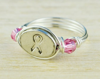 Awareness Ribbon and Any Birthstones Ring -Sterling Silver, Rose or Yellow Gold Filled Wire Wrapped- Any Size 4,5,6,7,8,9,10,11,12,13,14