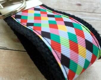 Ribbon Keychain Mini Fob -- Jester Check