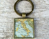 italy vintage map keychain | 1959 Encyclopedia Brittanica Map | Italy | geography | traveler