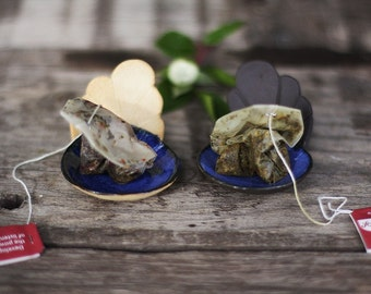 Stoneware scoop, jewelry dish, tea bag holder, appetizer serving spoon