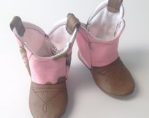 Baby Cowboy Boots, Real Tree Pink Camo fabric with leather / Newborn boots / Infant boots / Toddler boots