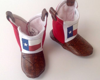 Texas Flag Baby Cowboy Boots with Leather | Newborn size up to 24 Months