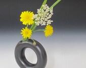 Miniature ring vase / black / handmade / wheel thrown / pottery / flower vase / home decor