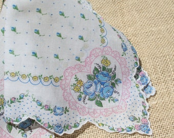 Vintage Hankie Rose Bouquet Pink and Blue