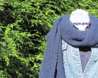 Oversized Large Fall Winter Scarf Wrap, Indigo Navy Blue Black Rustic Casual Hand Woven Mix Melange Scarf Mens Womens Fashion Wrap Accessory