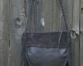 ON SALE Dark brown leather tote with fringe and a zipper closure , Dark brown fringed handbag