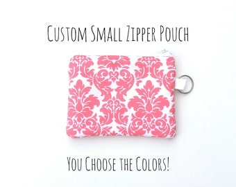 NEW! Zip Pouch in Pink & White Damask - Great Gift Idea!