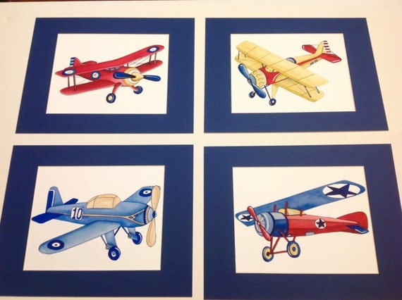 Airplane Nursery Art Vintage Airplane Art Print Children