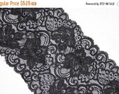 "ON SALE 10% off 2 yards Black sheer floral STRETCH Sheer lingerie lace 5.75"" wide"