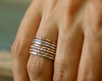 Stacking ring set, mixed metal stacking rings, hammered rings stack, knuckle rings