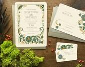 Art Deco Wedding Invitation, Wedding Invitation Set, Art Deco Wedding Invitations, Gatsby Invitation, Jade Mandevilla