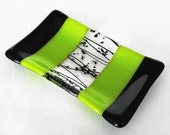 FUSED GLASS DISH - Black Lime Green Rectangular Dish, Ring Trinket Dish, Soap Dish, Fused Glass, Gift for Her, Gift for Him, Gift for Teen