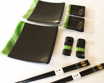 SUSHI SET - Green Bamboo, Sushi Set with Chopsticks, Under 75, Japanese Dishes, Wedding Gift, Anniversary Gift, Graduation Gift, Fused Glass