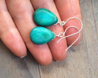 Turquoise Earrings in Gold or Silver. December birthstone