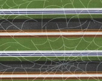 Spider Webs on Green and Black Stripes - Ghoul's Night Out from Maywood - Full or Half Yard Halloween Stripe