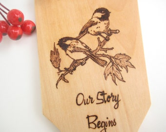 Chickadee Engraved Spatula Personalized, Wood Spatula, Wedding gift, Housewarming, Blended family gift, Anniversary Gift,  Christmas gift