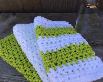 Crochet Dishcloth, Crochet Washcloth, Beach Inspired, Knit Washcloth, Knit Dishcloth, Stripes, Lime Green and White,Set of Three