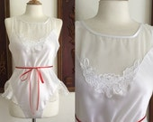 ON SALE Vintage 70s / White / Jo Intimates / Ruffle / Floral / Lingerie / Teddy