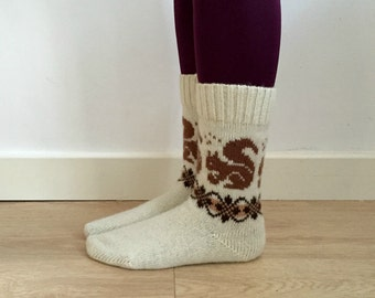 READY TO SHIP White wool knitted socks brown squirrels fair isle patterned fall winter nordic scandinavian