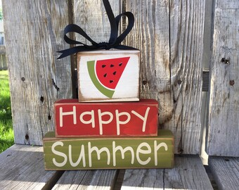 Happy summer watermelon seasonal wood block set home decor stacking blocks primitive photo prop gift