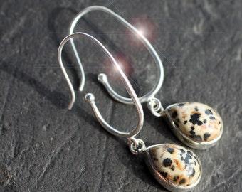 Speckles 'n Spots - Long and Sleek Dalmation Jasper Sterling Silver Earrings