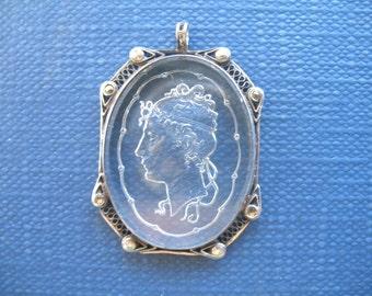 Vintage Art Deco Pendant ~ Reverse Carved Glass ~ Sterling Silver ~ Intaglio