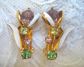 Vintage Enamel & Rhinestone Flower Earrings ~ Pastels ~ Clip On