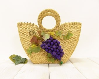 Vintage Woven Raffia Purse--- Decorated with Large Bunch of Grapes--- Channeling Carmen Miranda