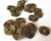 Brass Spacers - Wavy Disc Rondelle Spacer Plain Bead - Metal Brass Coin Beads -  Diy Jewelry Findings (40) Pcs - 14mm Brass Bead cap Spacers