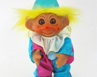 "Vintage 1977 Thomas Dam Troll Norfin Doll 9"" w Bright Yellow Hair Turquoise & Pin Clown Costume"