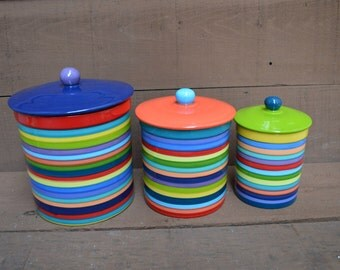 One of a Kind Set of 3 Rainbow Striped Ceramic Canister Set with Rubber Seals - Multi Colored Lids and Knobs - XL, L, M