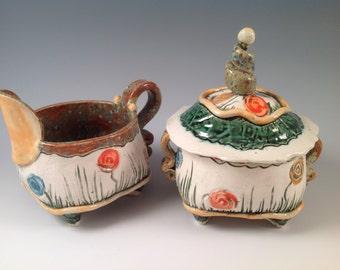 Cream and sugar set/cream and sugar/cream pitcher/sugar bowl/pitcher/lidded sugar bowl/pottery cream and sugar