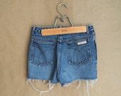 vintage 1980's Calvin Klein cut offs / denim shorts / shortie shorts / bootie shorts