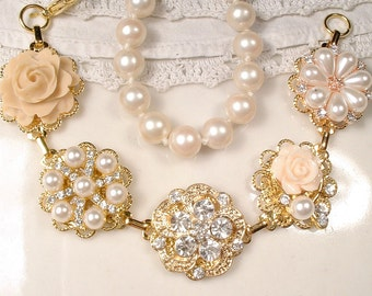 Ivory & Champagne Bridal Bracelet, OOAK Pearl, Rhinestone, Cameo Gold Vintage Earring Wedding Bracelet, Rustic Country Romantic Victorian