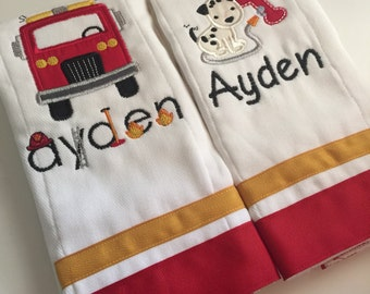 Set of 2 personalized custom monogrammed burp cloths firefighter and dalmatian
