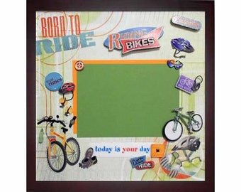 LOVE TO RIDE Premade Memory Album Page (Gallery Wood Shadow Box Frame Sold Separately)