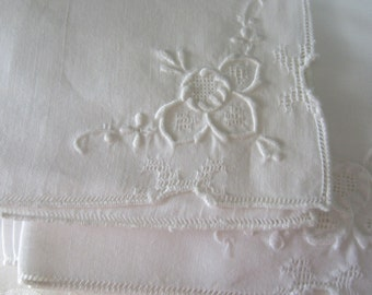 Six White Linen Embroidered Table Napkins